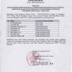 Gambar Pengumuman Hasil Seleksi Dosen Kontrak, Laboran/Teknisi dan Tenaga Administrasi Kontrak Program Studi Pendidikan Dokter Universitas Bengkulu Tahun 201