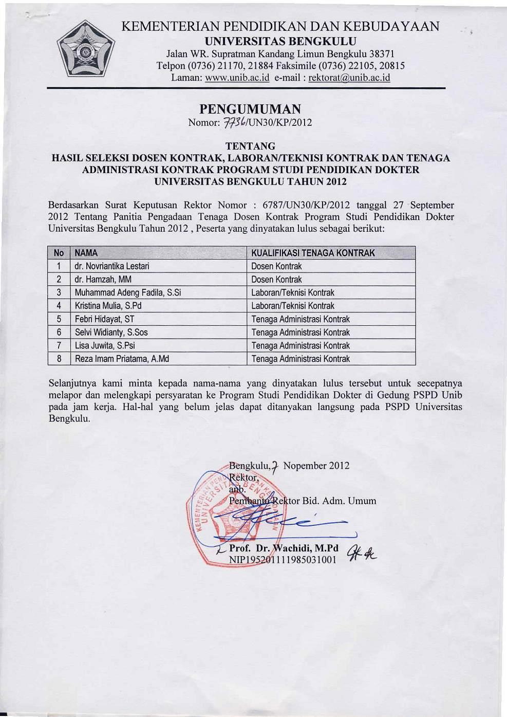 Pengumuman Hasil Seleksi Dosen Kontrak, Laboran/Teknisi dan Tenaga Administrasi Kontrak Program Studi Pendidikan Dokter Universitas Bengkulu Tahun 201