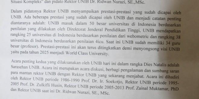 PRESS RELEASE PPID UNIB NO 2 TAHUN 2015 : ACARA DIES NATALIS KE-33 UNIB