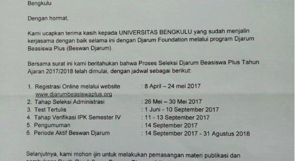 Rencana Rekrutmen Djarum Beasiswa Plus