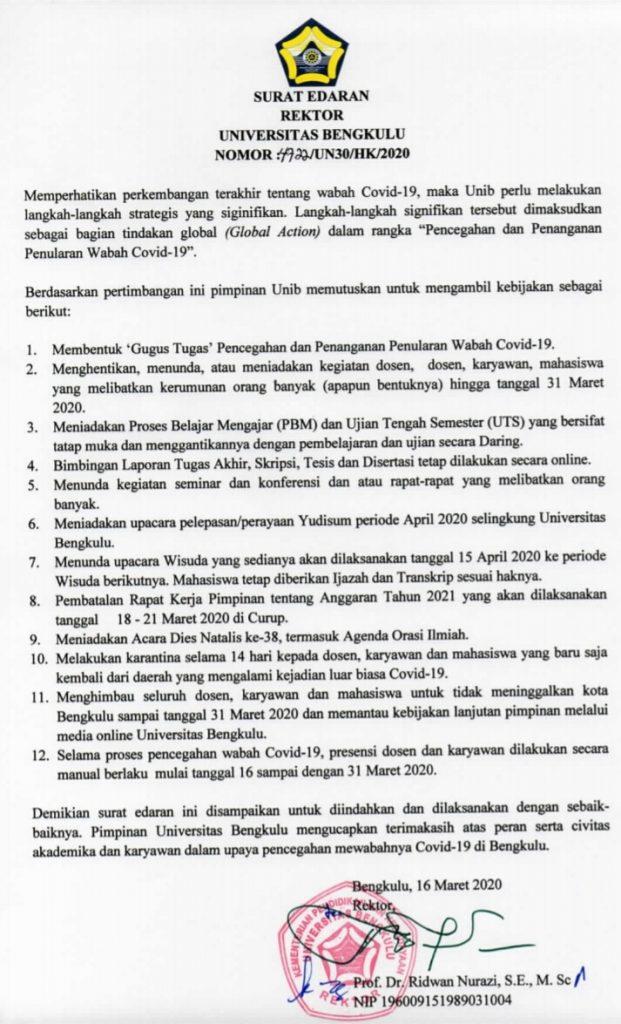 Cegah Covid 19 Ini Langkah Strategis Global Action Dilakukan Unib Universitas Bengkulu