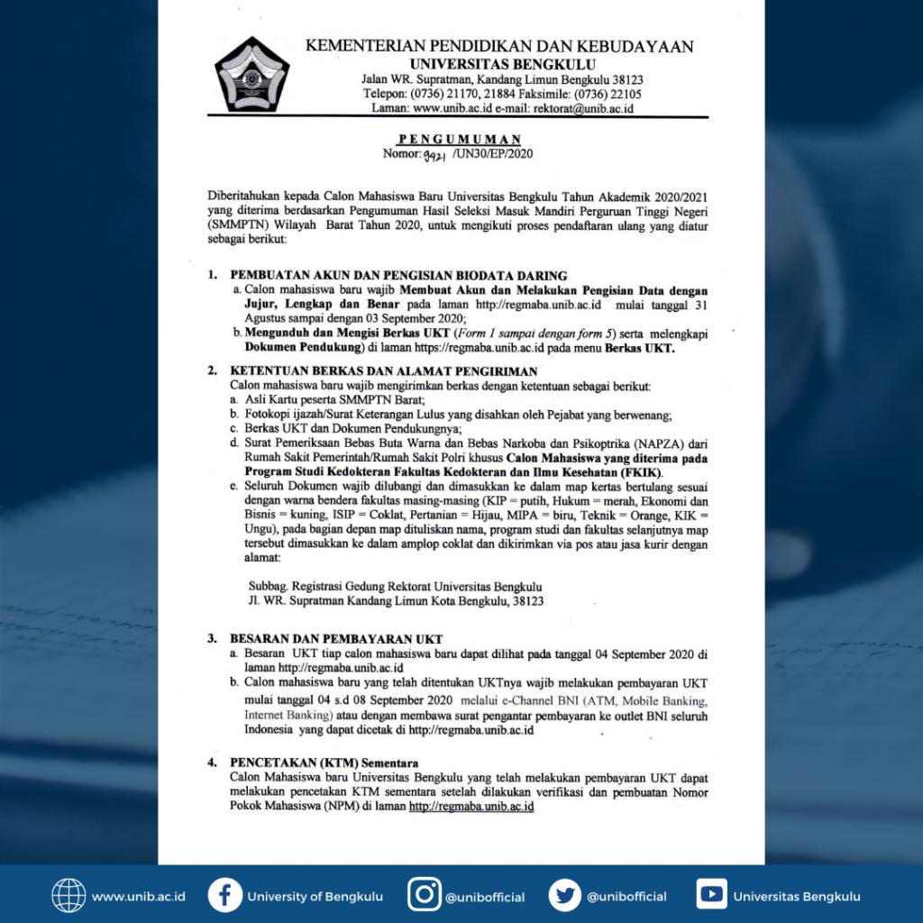 IKL UNIB | Pendaftaran Ulang Mahasiswa Baru Jalur SMMPTN-BARAT 2020
