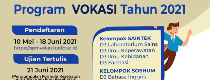 Penerimaan Mahasiswa Baru Universitas Bengkulu Program Vokasi Jalur Ujian Tertulis Tahun 2021
