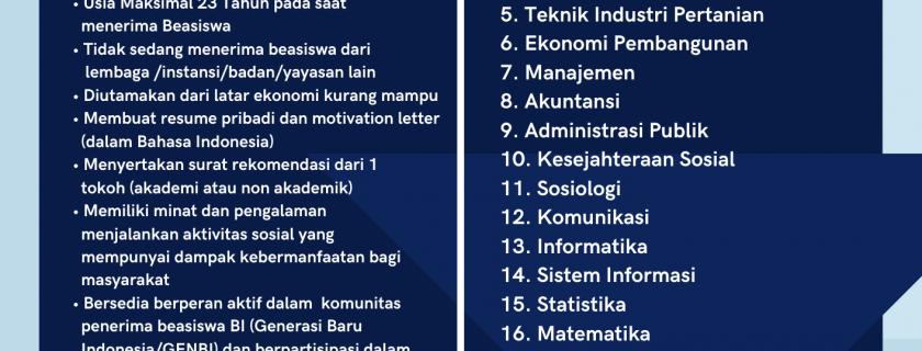 Informasi Beasiswa Bank Indonesia (Pengganti) Semester Ganjil TA 2021/2022